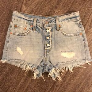 Levi's 501 Denim High Rise Cut Off Shorts